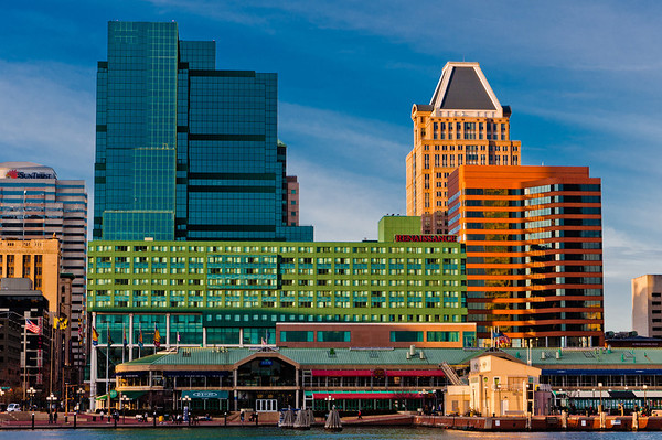 Buildings on Pratt Street, seen from the Inner Harbor, Baltimore, Maryland
