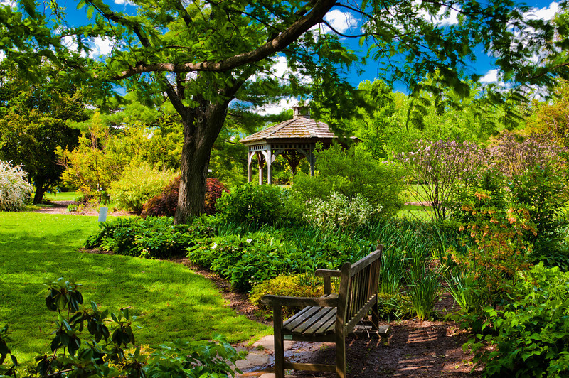 Gazebo, Trees and Bench at Cylburn Arboretum, Baltimore, Maryland