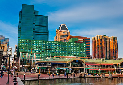 Highrises along Pratt Street in the Inner Harbor, Baltimore, Maryland.