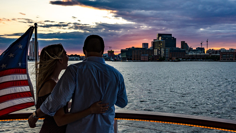 Couple enjoys sunset cruise