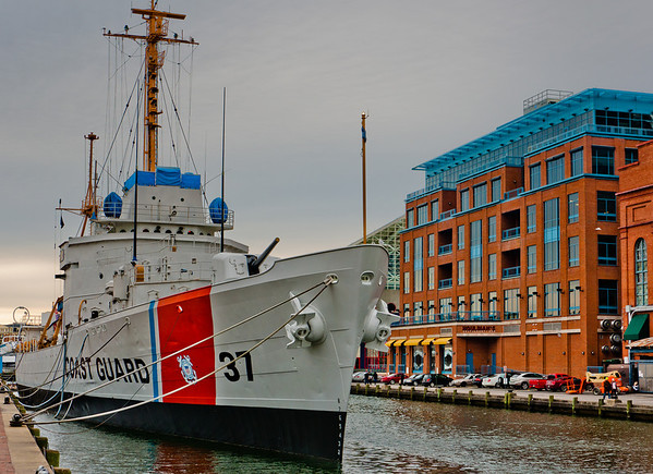Coast Guard ship in the Inner Harbor of Baltimore, Maryland.