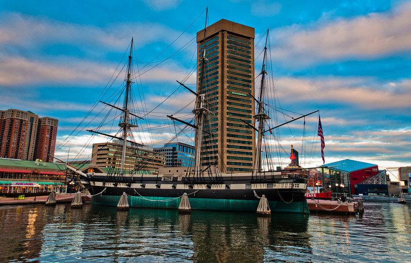 USS Constellation and World Trade Center, Inner Harbor, Baltimore, Maryland