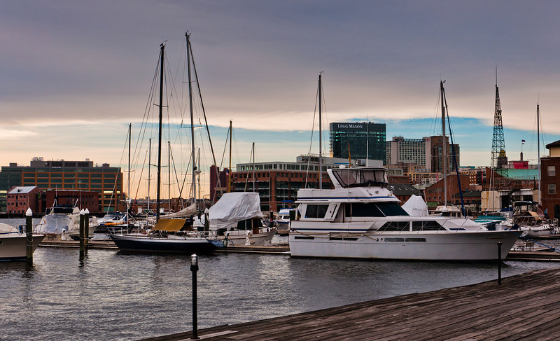 Boats in a marina in Fells Point, Baltimore, Maryland.