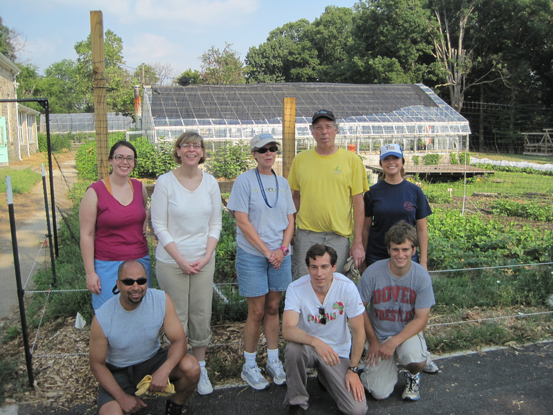 Sheridan Libraries volunteer team at Great Kids Farm, 22 July 2011. It was already in the 90s at 9:00 am!