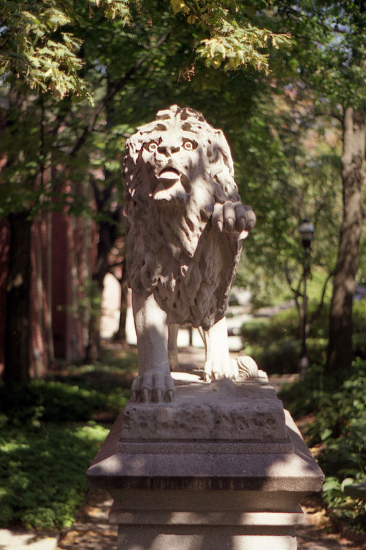 Lions in the park at the end of W Lanvale St. Roland Park Baltimore