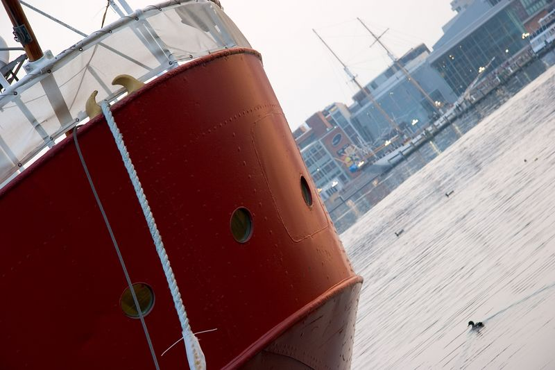 The stern of the lighthouse boat Chesapeake in Baltimore's Inner Harbor.