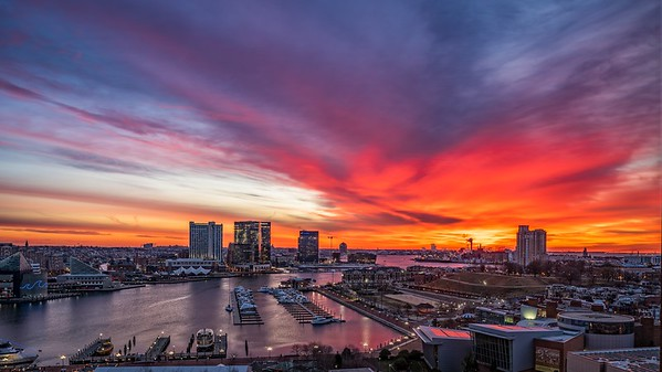 Firey Sunrise Over Baltimore Harbor