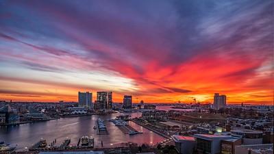 Firey Sunrise Over Baltimore Harbor