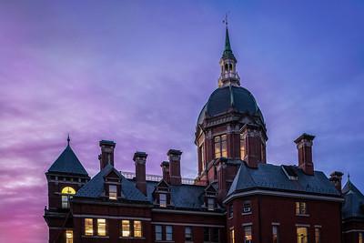 Evening at Johns Hopkins Hospital, Baltimore, Maryland