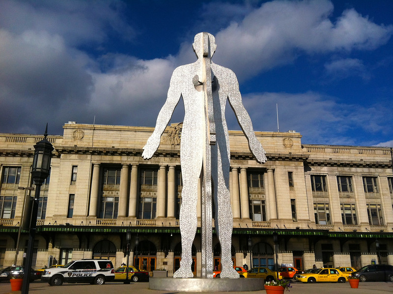 "Jonathan Borofsky's ""Male/Female"" stands outside Penn Station in Baltimore.  2011."