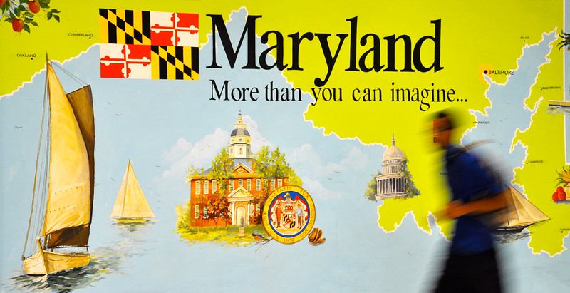 Welcome to Maryland mural at BWI Airport. 2009.