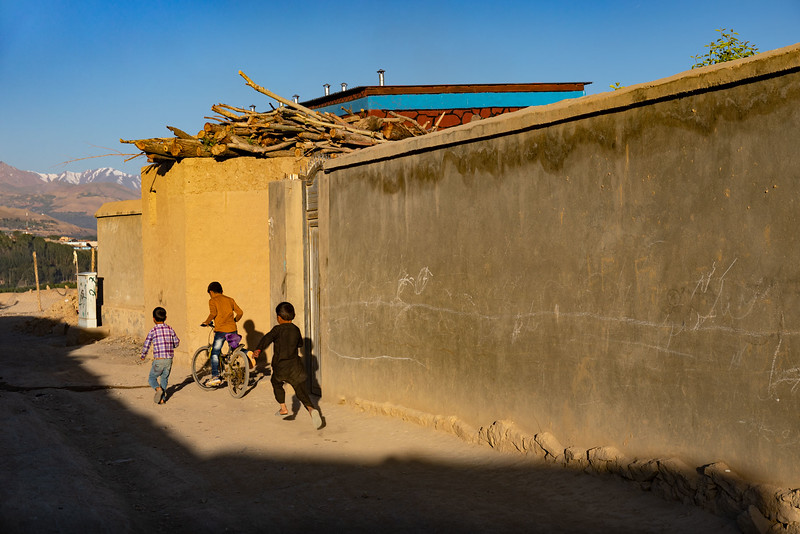 Kids playing, early morning Zargaran area of Bamyan.