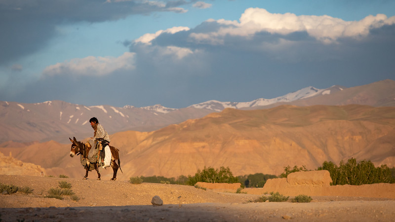 Riding home in the evening, near the Sang-Chaspan area in Bamyan.