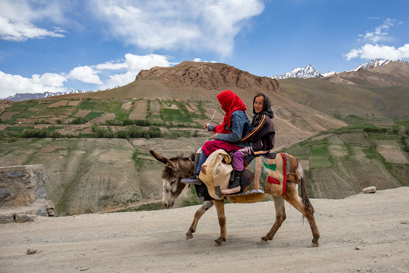 Girls on donkey, Foladi Valley near Bamyan.