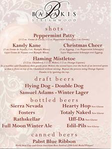 20081227 Banakis Christmas Party - Drink Menu Shots