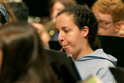 More than 100 middle and high school students from across the Northeast are exploreing their musical talents during the 20th annual Mary Jo Leahey Symphonic Band Camp at UMass Lowell this Summer.  They will have a performance at the university on July 23, 2016. A few locals from around Lowell area are participating in the camp. Playing the oboe with the band at Friday's practice is Joyce Downey from Westford. SUN/JOHN LOVE