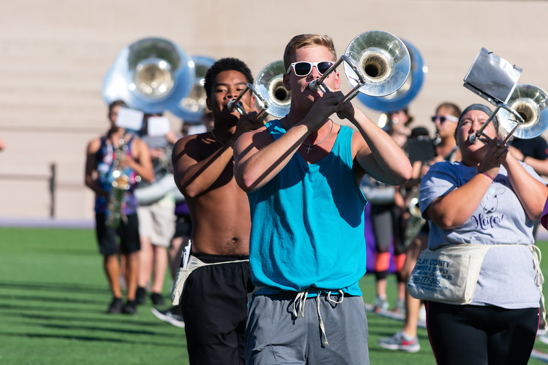 On Thursday, September 27th, the Kansas State Marching Band practiced their routines for Saturday's football game against the University of Texas. Their practices are from 2:30-5:20 Tuesdays, Thursdays, and Fridays at Memorial Field Stadium. (Brooke Barrett   Collegian Media Group)