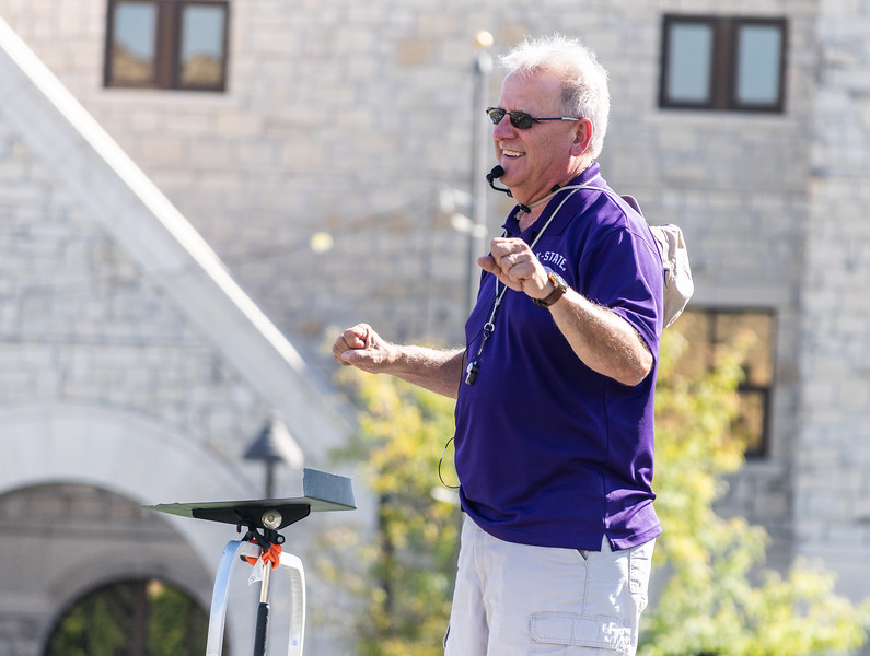 Band director, Frank Tracz, gives feedback and encouragement to the band at practice on Thursday, September 27th. The band will perform during the halftime show at the football game against the University of Texas on Saturday, September 29th, 2018. (Brooke Barrett   Collegian Media Group)