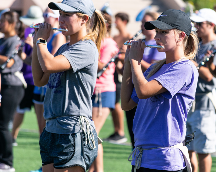 The Kansas State Marching Band perfects their routines at a Thursday practice at Memorial Stadium. They will perform at the Saturday football halftime show on September 29th, 2018. (Brooke Barrett   Collegian Media Group)