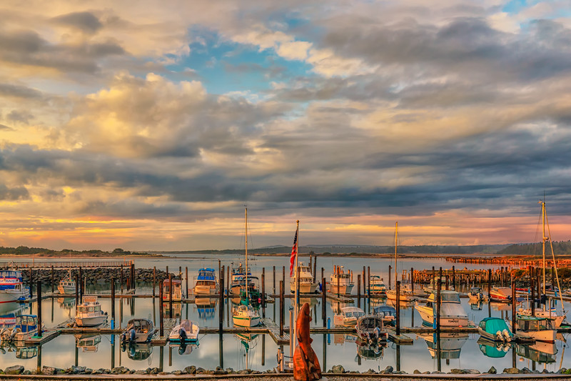 The Bandon Marina, colorful in the setting sun.