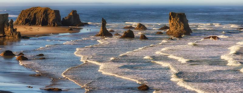 A panorama of the Bandon sea stacks
