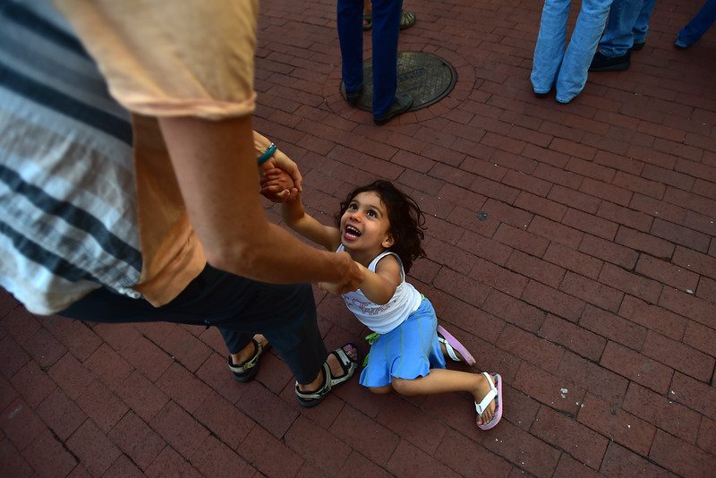 "Mara Goldman dances with her daughter Anisha Ayyalasomayajula, 3, Euforquestra performs at Boulder's Bands on the Bricks at Pearl Street Mall on Wednesday.<br /> More photos:  <a href=""http://www.dailycamera.com"">http://www.dailycamera.com</a><br /> Autumn Parry/Staff Photographer<br /> June 1, 2016"