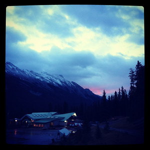 Cloudy sunrise over the Sulphur Mountain gondola, Banff National Park, Canada