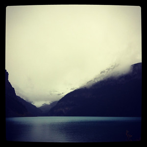 Cloudy, rainy day over Lake Louise, Banff National Park, Canada