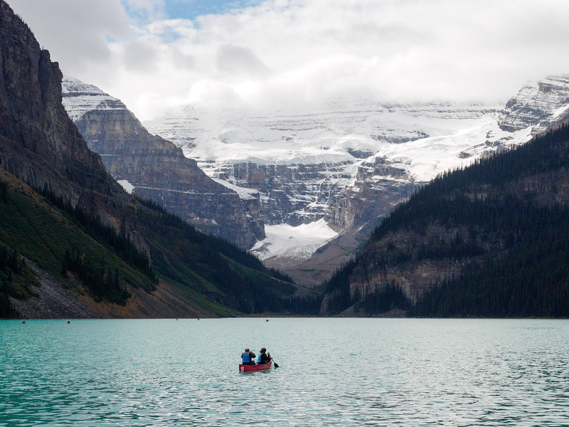 Boaters on Lake Louise