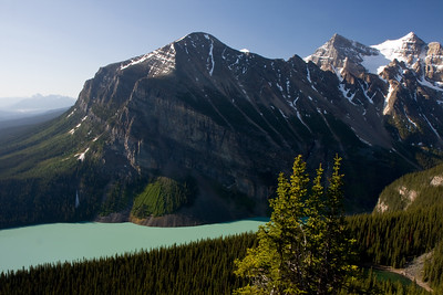 Looking down at Lake Louise from the summit of Little Bee Hive.