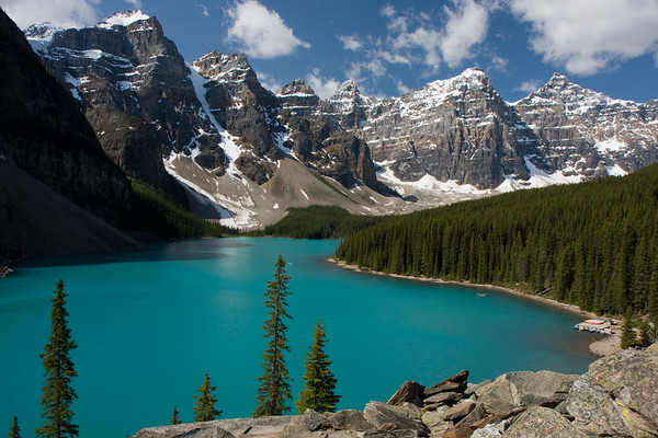 Moraine Lake at mid-morning. Quite a view