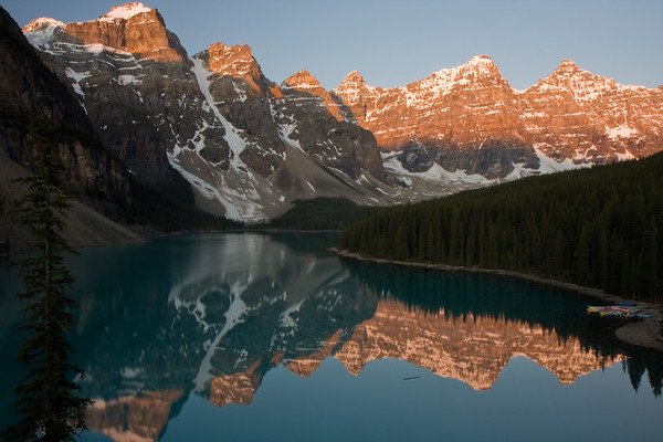 Moraine Lake at sunrise. This is one of the most famous views from the Canadian Rockies...it's even featured on the back of the Canadian $20 bill. I had to wake up at 3:30am and make the drive from our hotel in Banff to catch the sunrise (around 515am). Crazy how long the days are when you're that far North!