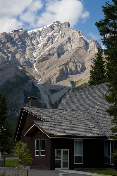 The view from our patio at the Fox Hotel in Banff. Definitely recommend staying at this place. Reasonably priced (for Banff anyways) and has it's own cave/hot springs that are a great, relaxing way to end a long day of hiking and sightseeing.