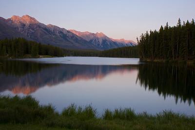 Johnson Lake just outside of Banff at sunset