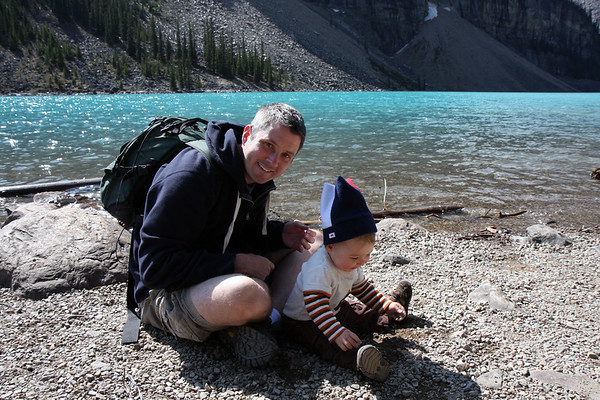 Little Alex wasn't all that interested in the scenery at Moraine Lake, but those rocks along the shoreline were sure fun.