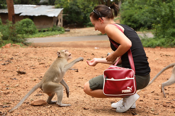 This monkey took a bit of a fright when Ali started baring her teeth to him (it was a smile, honest).