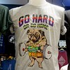 T-shirt at the Pratunam shopping mall in Bangkok, Thailand in August 2017. A pug weightlifting and the words go hard or go home!