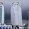Skyscrapers against a stormy sky in Bangkok, Thailand in August 2017