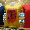 T-shirts for sale at the Pratunam shopping mall in Bangkok, Thailand in August 2017. Forgive but never forget