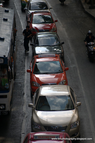 Traffic in Silom, Bangkok, Thailand in December 2009