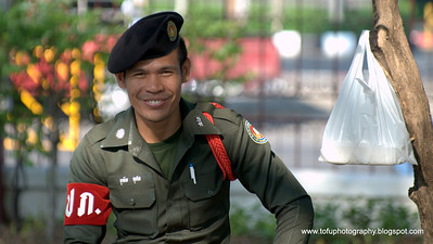 A soldier at Lumphini Park in Bangkok, Thailand, in December 2009