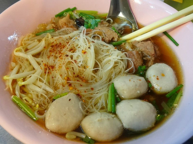 Beef and fish balls with thin rice noodles