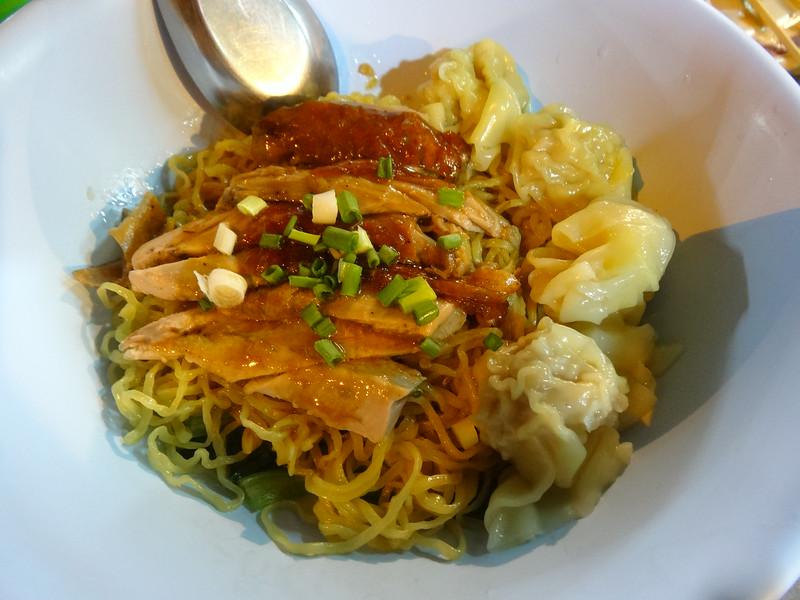 Roast duck and prawn wonton dry noodles