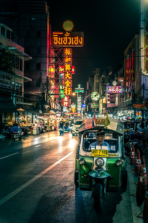 Chinatown in Bangkok at night.