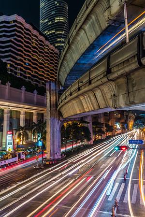 Traffic in Bangkok at night.