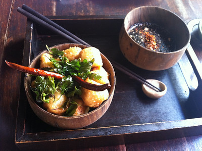 One of Anotai's signature dishes - Tofu Tempura with soy sauce and wasabi mayo