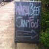 Warm Beer Crap Food - outside the Fat Monkey bar, Klong Dao, Koh Lanta. You've been warned...