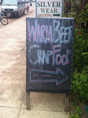 Warm Beer Crap Food - outside the Fat Monkey bar, Klong Dao, Koh Lanta. You've been warned...