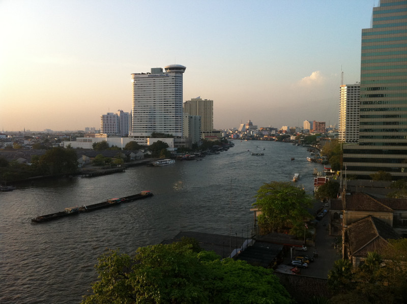 View from the window of a hotel room in the Bangkok Mandarin Oriental