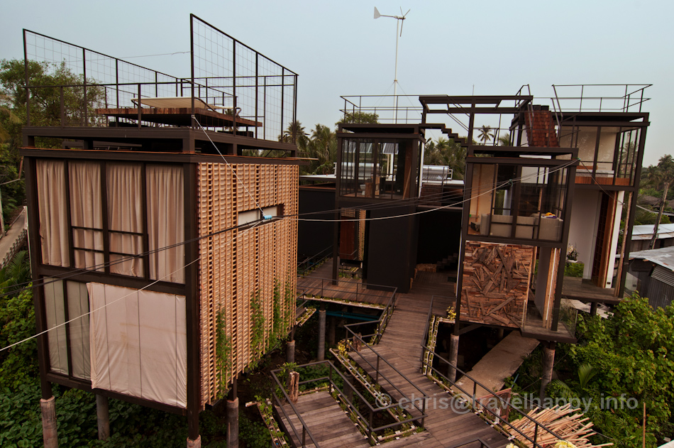 Room Exterior and Kitchen with Wind Power and Solar Power, Bangkok Tree House Hotel
